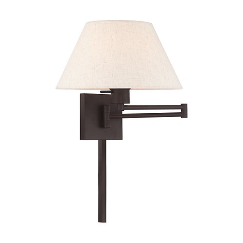 Swing Arm Wall Lamps Bronze 13-Inch One-Light Swing Arm Wall Lamp with Hand Crafted Oatmeal Hardback Shade
