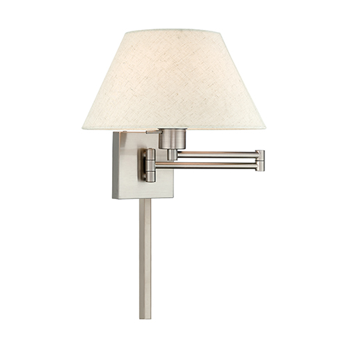Swing Arm Wall Lamps Brushed Nickel 13-Inch One-Light Swing Arm Wall Lamp with Hand Crafted Oatmeal Hardback Shade