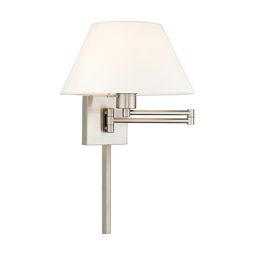 Swing Arm Wall Lamps Brushed Nickel 13-Inch One-Light Swing Arm Wall Lamp with Hand Crafted Off-White Hardback Shade