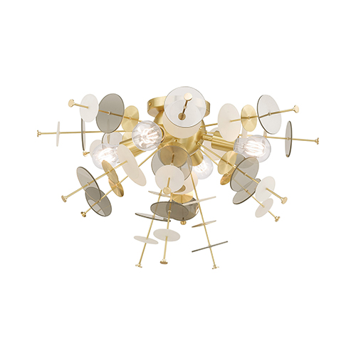 Circulo Satin Brass 24-Inch Four-Light Ceiling Mount with Satin Brass Discs and Glass Discs