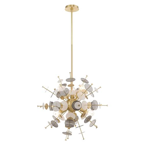 Circulo Satin Brass Six-Light Chandelier