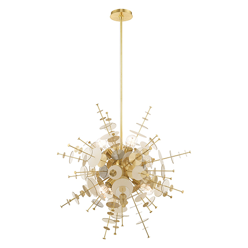 Circulo Satin Brass Six-Light Pendant Chandelier