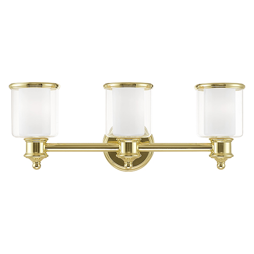 Middlebush Polished Brass 24-Inch Three-Light Bath Vanity with Clear and Satin Opal White Glass