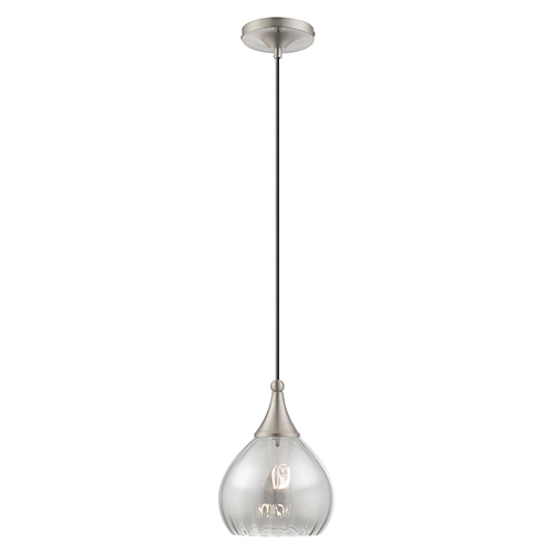 Livex Lighting Art Glass Mini Pendants Brushed Nickel Seven-Inch One-Light Mini Pendant with Smoke Glass