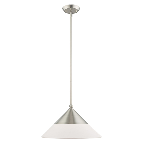 Stockholm Brushed Nickel 15-Inch One-Light Mini Pendant with Brushed Nickel Metal Shade with Hand Crafted Hardback Shade