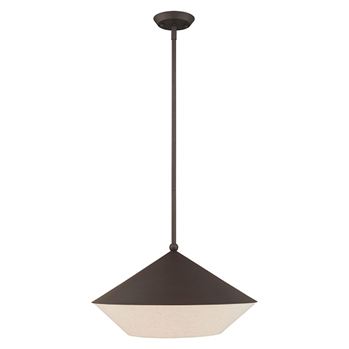 Livex Lighting Stockholm Bronze 18 Inch One Light Pendant With Bronze Metal Shade With Hand Crafted Hardback Shade 40719 07 Bellacor