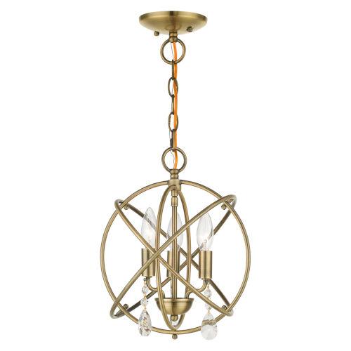 Aria Antique Brass 13-Inch Three-Light Convertible Chandelier