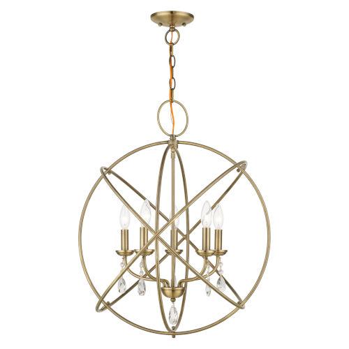 Aria Antique Brass Five-Light Chandelier