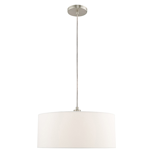 Livex Lighting Clark Brushed Nickel 18-Inch One-Light Pendant Chandelier with Hand Crafted Off-White Hardback Shade