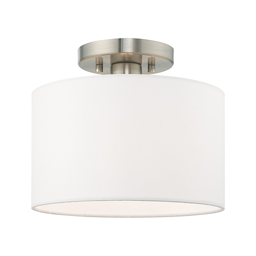 Clark Brushed Nickel 10-Inch One-Light Ceiling Mount with Hand Crafted Off-White Hardback Shade