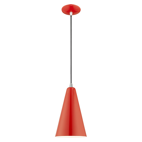 Metal Shade Mini Pendants Shiny Red Seven-Inch One-Light Mini Pendant with Shiny Red Metal Shade with Shiny White Finish