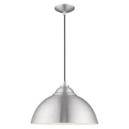 Metal Shade Mini Pendants Brushed Aluminum 16-Inch One-Light Mini Pendant with Brushed Aluminum Metal Shade