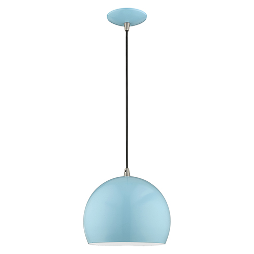 Metal Shade Mini Pendants Shiny Baby Blue 10-Inch One-Light Mini Pendant with Shiny Baby Blue Metal Shade with Shiny White
