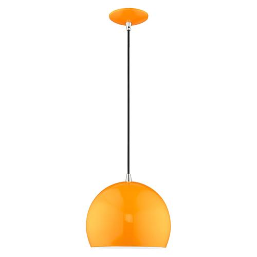 Metal Shade Mini Pendants Shiny Orange 10-Inch One-Light Mini Pendant with Shiny Orange Metal Shade with Shiny White Finish
