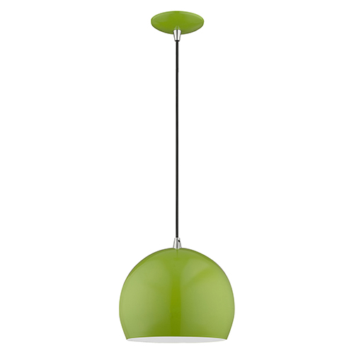 Metal Shade Mini Pendants Shiny Apple Green 10-Inch One-Light Mini Pendant with Shiny Apple Green Metal Shade with Shiny