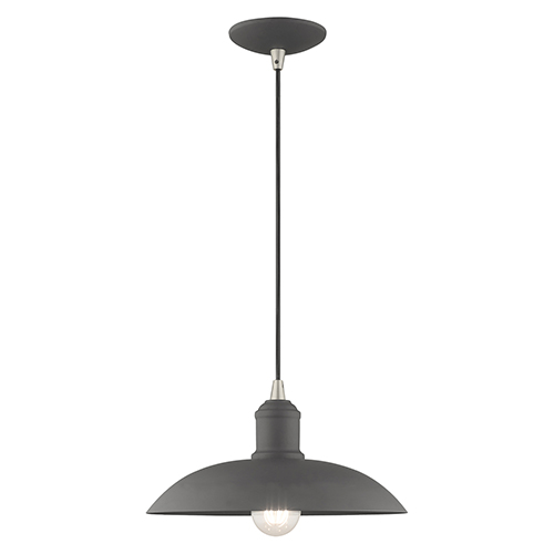 Metal Shade Mini Pendants Scandinavian Gray 13-Inch One-Light Mini Pendant with Scandinavian Gray Metal Shade with Same