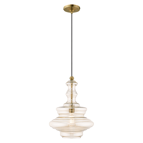 Art Glass Mini Pendants Antique Brass 13-Inch One-Light Mini Pendant with Champagne Glass