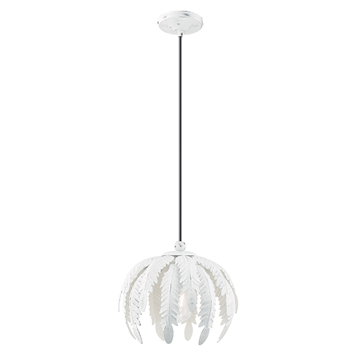 Acanthus Antique White 13-Inch One-Light Mini Pendant with Acanthus Shaped Antique White Metal Shade