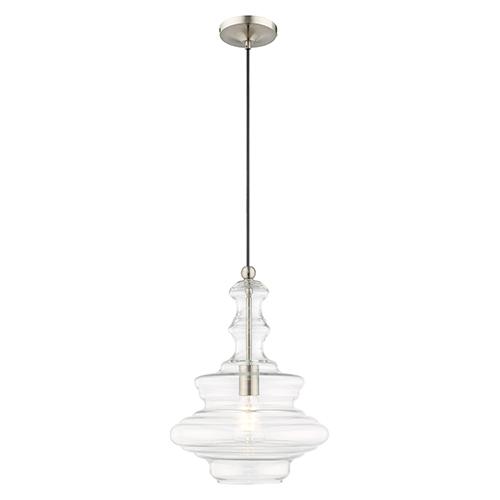 Livex Lighting Art Gl Mini Pendants Brushed Nickel 13 Inch One Light Pendant