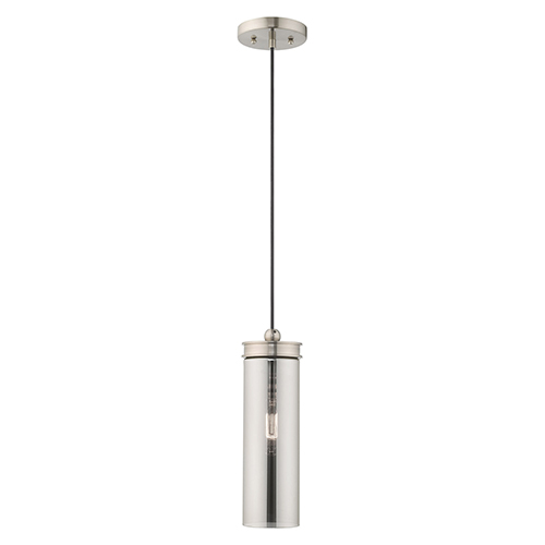 Art Glass Mini Pendants Brushed Nickel 5-Inch One-Light Mini Pendant with Smoke Glass
