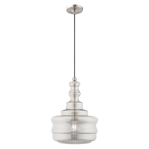 Art Glass Mini Pendants Brushed Nickel 13-Inch One-Light Mini Pendant with Smoke Glass