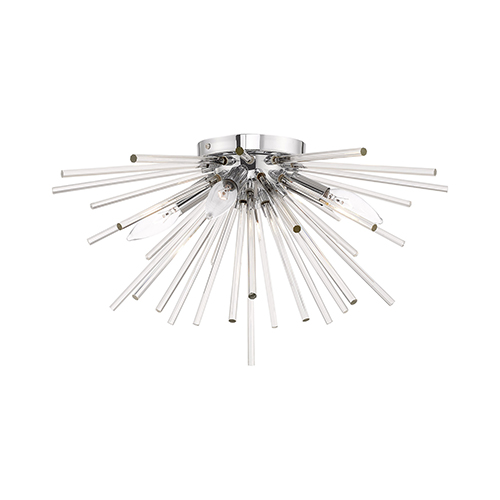 Utopia Polished Chrome 20-Inch Four-Light Ceiling Mount with Clear Crystal Rods