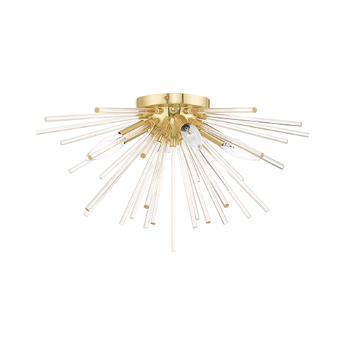 Utopia Satin Brass 20-Inch Four-Light Ceiling Mount with Clear Crystal Rods