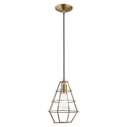 Livex Lighting Geometric Shade Mini Pendants Antique Brass Eight-Inch One-Light Mini Pendant with Antique Brass Geometric
