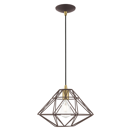 Geometric Shade Mini Pendants Bronze 14-Inch One-Light Mini Pendant with Bronze Geometric Metal Shade