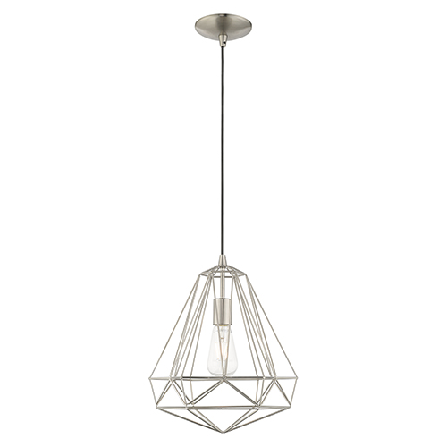 Geometric Shade Mini Pendants Brushed Nickel 13-Inch One-Light Mini Pendant with Brushed Nickel Geometric Metal Shade
