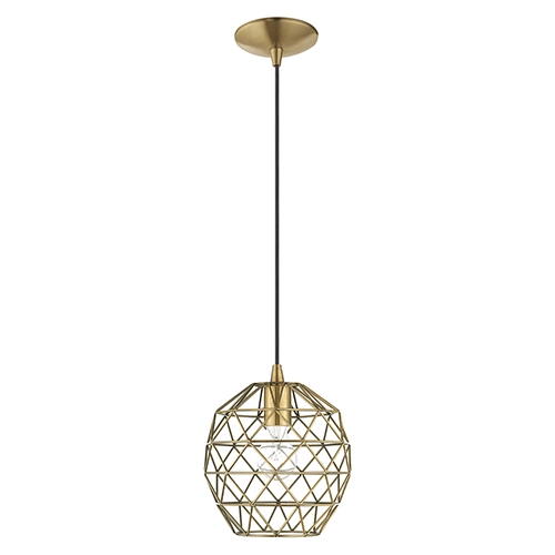 Livex Lighting Geometric Shade Mini Pendants Antique Brass Eight-Inch One-Light Mini Pendant with Antique Brass Geometric