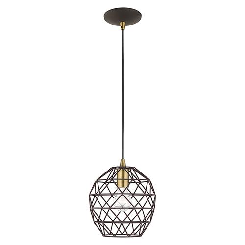 Livex Lighting Geometric Shade Mini Pendants Bronze Eight-Inch One-Light Mini Pendant with Bronze Geometric Metal Shade