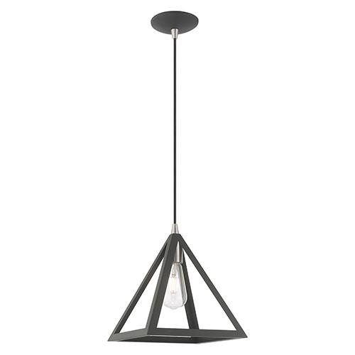 Livex Lighting Geometric Shade Mini Pendants Scandinavian Gray 14-Inch One-Light Mini Pendant with Scandinavian Gray