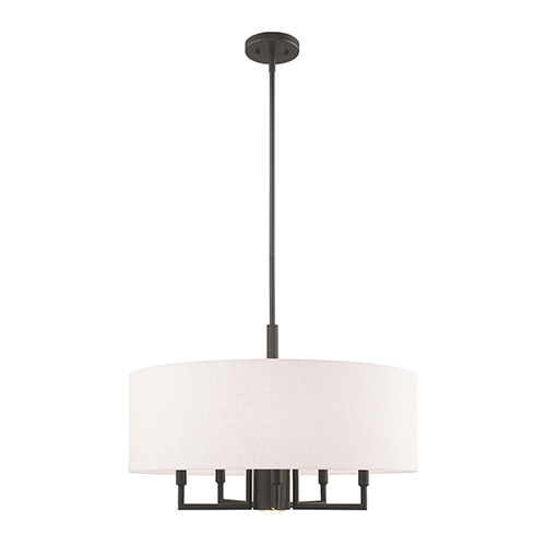 Meridian English Bronze 24-Inch Six-Light Pendant Chandelier with Hand Crafted Oatmeal Hardback Shade