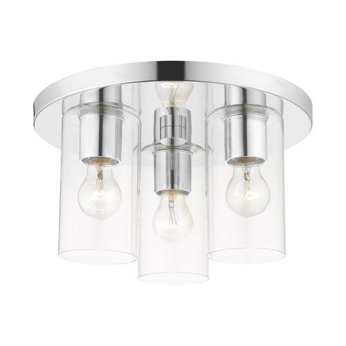 Zurich Polished Chrome Three-Light Flush Mount