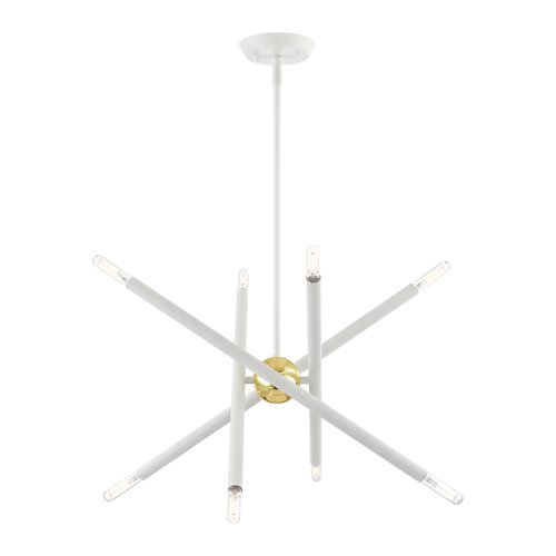 Soho White and Polished Brass 20-Inch Eight-Light Chandelier