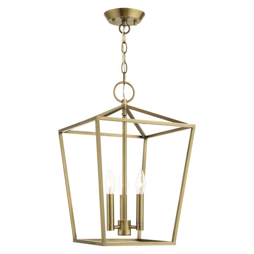 Devonshire Antique Brass 13-Inch Three-Light Convertible Pendant