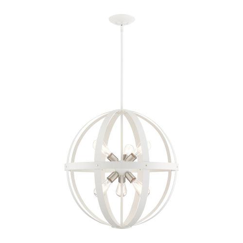 Stoneridge Textured White with Brushed Nickel Finish Cluster Six-Light Pendant