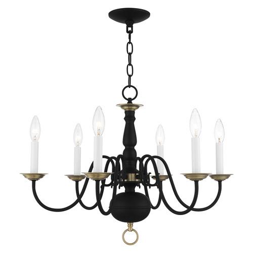 Williamsburg Black and Antique Brass Six-Light Chandelier