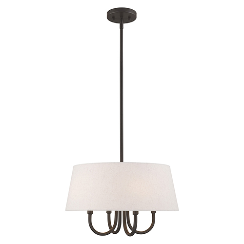 Belclaire English Bronze 18-Inch Four-Light Pendant Chandelier with Hand Crafted Oatmeal Hardback Shade