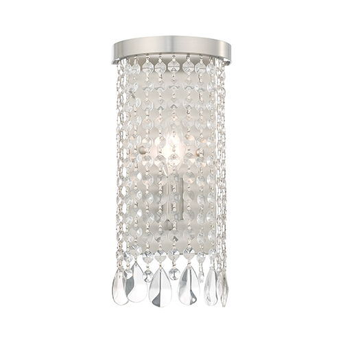 Elizabeth Brushed Nickel 6-Inch One-Light ADA Wall Sconce with Clear Crystals