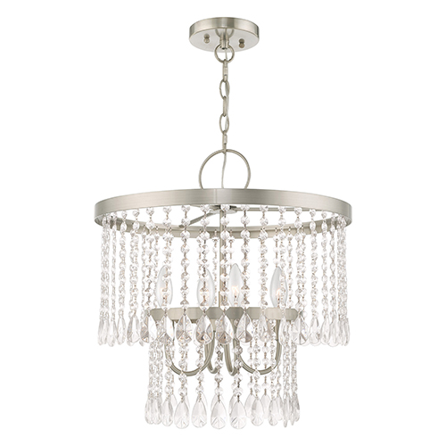 Elizabeth Brushed Nickel 18-Inch Four-Light Pendant Chandelier with Clear Crystals
