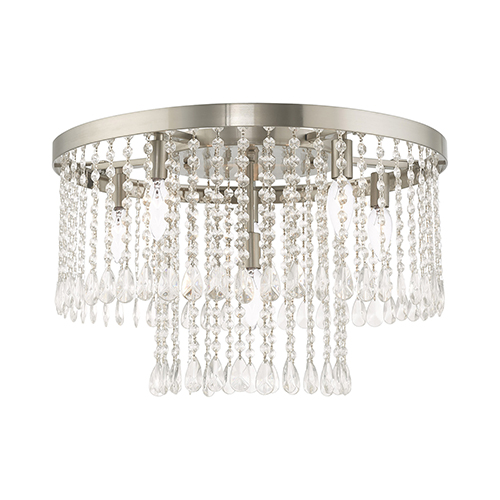 Elizabeth Brushed Nickel 22-Inch Six-Light Ceiling Mount with Clear Crystals