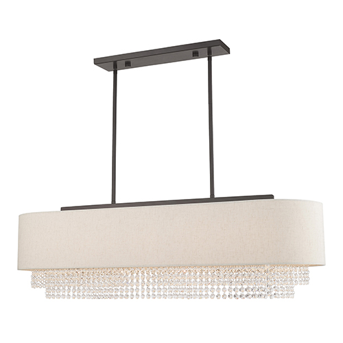 Carlisle English Bronze Five-Light Linear Chandelier