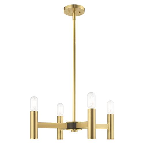 Copenhagen Satin Brass 20-Inch Four-Light Mini Chandelier