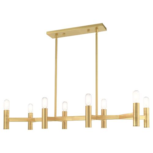 Copenhagen Satin Brass 15-Inch Eight-Light Linear Chandelier