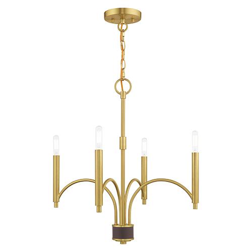 Wisteria Satin Brass 20-Inch Four-Light Mini Chandelier