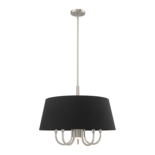 Belclaire Brushed Nickel 24-Inch Six-Light Pendant Chandelier with Hand Crafted Black Hardback Shade