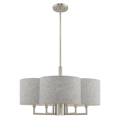 Kalmar Brushed Nickel 24-Inch Six-Light Pendant Chandelier with Hand Crafted Gray Hardback Shade