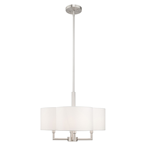 Chelsea Brushed Nickel 18-Inch Four-Light Pendant Chandelier with Hand Crafted Off-White Hardback Shade